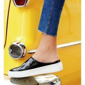 Free People Patent Leather Wynwood Slides, Size 10